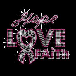 Lovely Pink Ribbon Hope Love Faith Iron-on Rhinestone Transfer