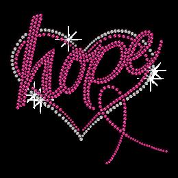 Pink Ribbon Love Hope Iron-on Rhinestone Transfer
