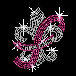 Pink Ribbon & Crystal Fleur De Lis Hotfix Rhinestone Transfer
