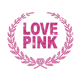 Rose Pink Love Iron-on Glitter Rhinestone Transfer