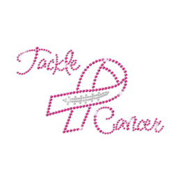 Pink Ribbon & Tackle Breast Cancer Iron on Rhinestone Transfer
