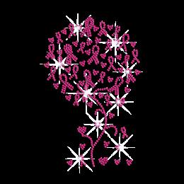Pink Ribbon Tree with Love Fruits Iron-on Rhinestone Transfer
