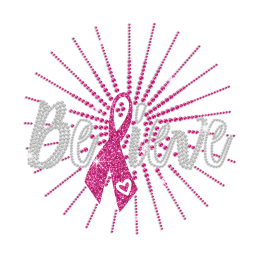 Crystal Believe & Pink Breast Cancer Ribbon Hotfix Rhinestone Transfer