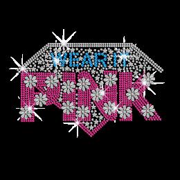 Crystal Diamond Design & Pink Fond Hotfix Rhinestone Transfer