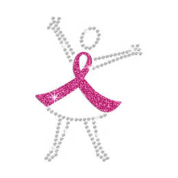 Fight Against Breast Cancer Hotfix Rhinestone Glitter Transfer
