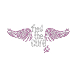 Bling Find the Cure with Pink Wings Iron-on Rhinestone Transfer