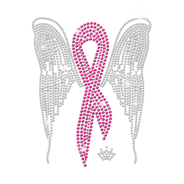 Pink Ribbon with Crystal Wings Iron-on Rhinestone Transfer