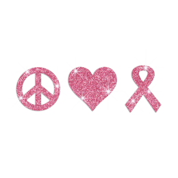 Peace Love And Pink Ribbon Glitter Rhinestone Transfer Motif