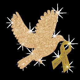Glittering Bird of Peace with Yellow Ribbon Rhinestone Iron On