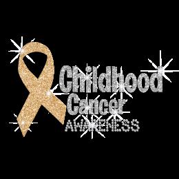 Yellow Ribbon for Children Cancer Awareness Glitter Rhinestone Iron On