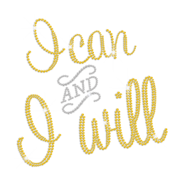 Bling I Can And I Will Iron on Rhinestone Transfer Decal