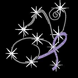 Glittering Purple Ribbon Butterfly Iron on Rhinestone Transfer Motif