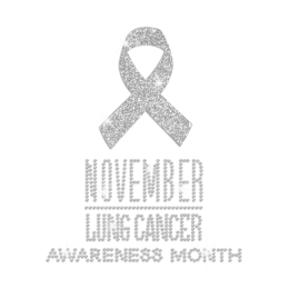 White Ribbon for Lung Cancer Awareness Month Glitter Rhinestone Iron On