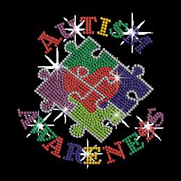 Colorful Autism Awareness Iron on Rhinestone Transfer Decal