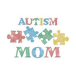 Autism Mom with Colorful Puzzle Iron on Rhinestone Transfer Decal