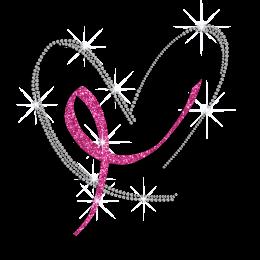 Glittering Pink Ribbon with Bling Heart Rhinestone Iron On