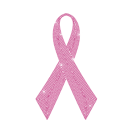 Pink Ribbon Rhinestud Design for Breast Cancer
