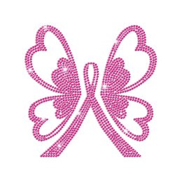 Bling Pink Butterfly Rhinestud Transfers