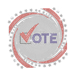 Put A Tick to Vote Iron on Rhinestone Transfer Motif