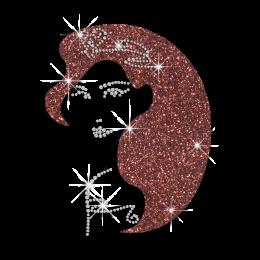 Custom Brown Hair Princess Bling Heat Press Design