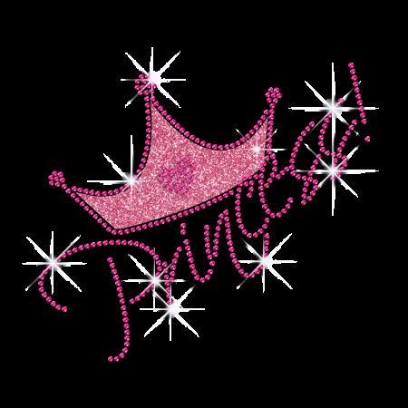 Custom Hot Iron Bling Princess Crown Motif for Clothes