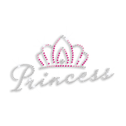 Pretty Princess in Crown Iron-on Rhinestone Transfer Design