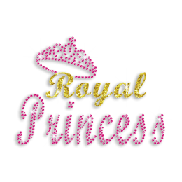 Pink Royal Princess in Crown Bling Iron-on Neon Stud Transfer