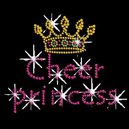 Custom Cheer Princess with Crown Iron-on Rhinestone Transfers