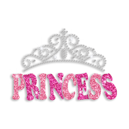 Gorgeous Princess Crown Iron-on Glitter Rhinestone Transfer