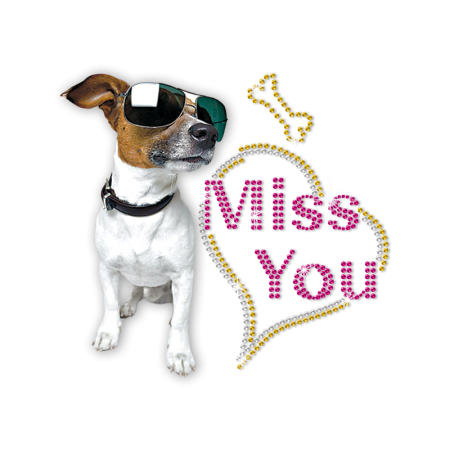 ISS Jack Russel Terrier Miss You Crystal Decal
