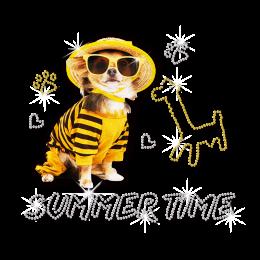 ISS Glitter Summer Dog Rhinestud Motif