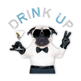 ISS Pug Drink Up Hot-fix Crystal Motif