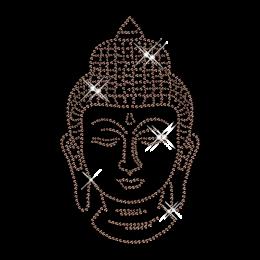 Best Sparkling Brown Rhinestone Half Figure of the Buddha Hotfix Design