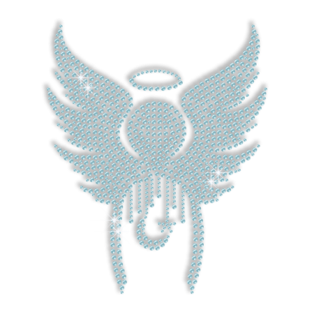 Blue Angel Wings with Star and Moon Hotfix Bling Transfer