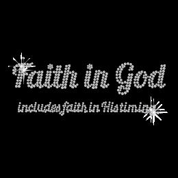 Customized Crystal Faith in God Ironon Strass Motif