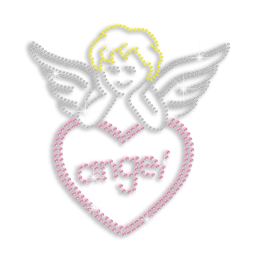 Cute Angel Heart Hotfix Rhinestud Iron on Transfer