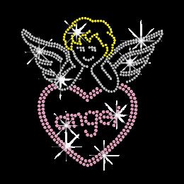 Cute Angel Heart Hotfix Rhinestud Iron on Transfer