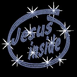 Blue Jesus Inside Iron-on Rhinestone Transfer Design