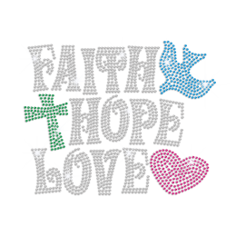 Faith Hope and Love Iron on Rhinestone Transfer