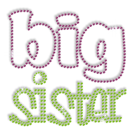 Words of Big Sister Rhinestone Iron on Transfer Pattern