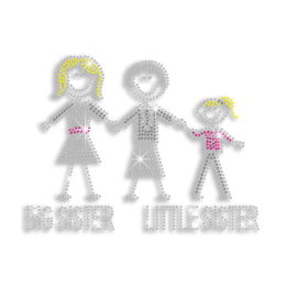 Happy Sisters Iron-on Rhinestone Transfer