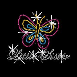 Little Sister Love Butterfly Hot Fix Rhinestone Transfer