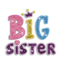 Colorful Big Sister Iron-on Glitter Rhinestone Transfer