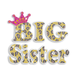 Big Sister in Crown Heat Press Rhinestone Transfer