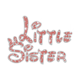 Custom Little Sister Heat Applied Rhinestone Transfer Motif