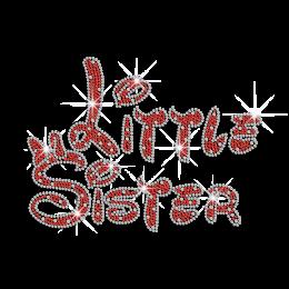 Custom Little Sister Heat Applied Rhinestone Transfer Motif