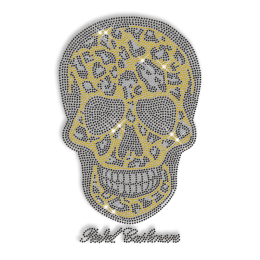 Crystal Rhinestud Skull Iron on Motif