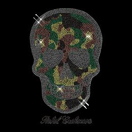 Colorful Rhinestud Skull Iron on Motif