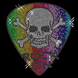 Colorful Rhinestone Skull Iron on Motif