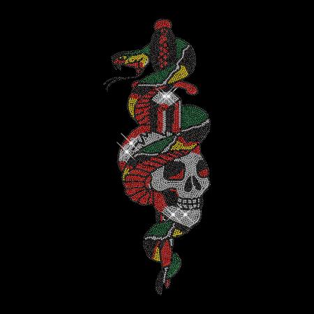 Shining Rhinestud Snake Skull Iron on Transfer